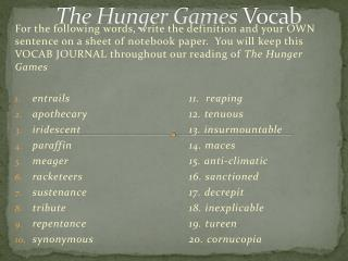 The Hunger Games  Vocab
