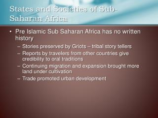 States and Societies of Sub-Saharan Africa