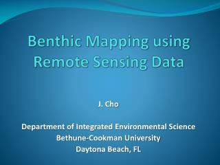 Benthic Mapping using Remote Sensing Data