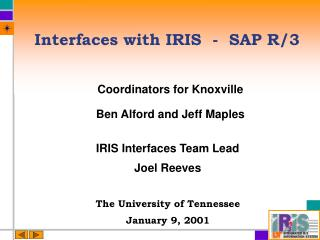 Interfaces with IRIS  -  SAP R/3