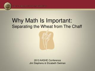 Why Math Is Important: Separating the Wheat from The Chaff