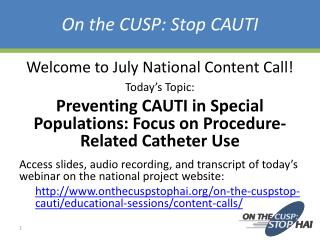 On the CUSP: Stop CAUTI