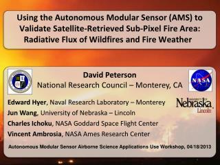 David  Peterson National Research Council  –  Monterey, CA