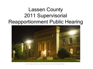 Lassen County 2011 Supervisorial Reapportionment Public Hearing