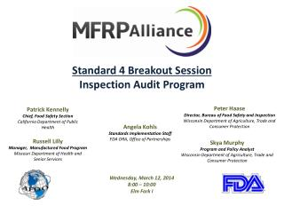 Standard 4 Breakout Session Inspection Audit Program