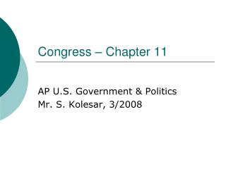 Congress – Chapter 11