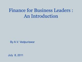 Finance for Business Leaders : An Introduction