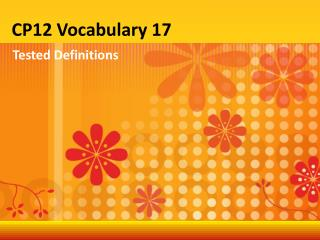 CP12 Vocabulary 17