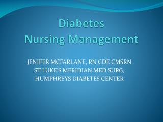 Diabetes Nursing Management