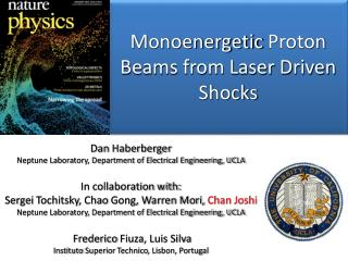 Monoenergetic  Proton Beams from Laser Driven Shocks