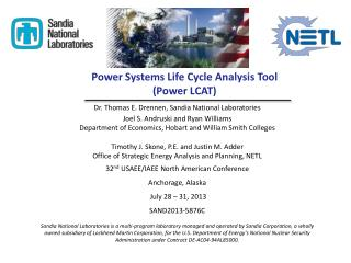 Power Systems Life Cycle Analysis Tool  (Power LCAT)