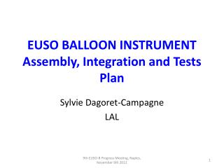 EUSO BALLOON INSTRUMENT Assembly, Integration and Tests  Plan