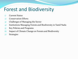 Forest and Biodiversity