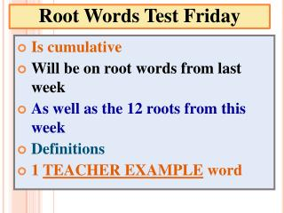 Root Words Test Friday
