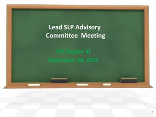 Lead SLP Advisory  Committee  Meeting