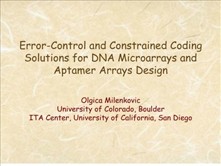 Error-Control and Constrained Coding Solutions for DNA Microarrays and Aptamer Arrays Design