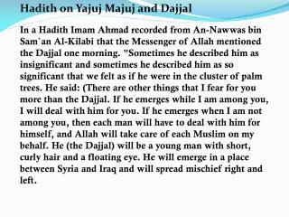 Hadith on Yajuj Majuj and Dajjal