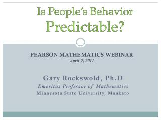 Is People's Behavior  Predictable?