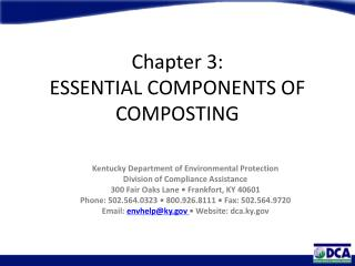 Chapter 3: ESSENTIAL COMPONENTS OF COMPOSTING