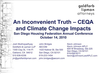 An Inconvenient Truth   CEQA and Climate Change Impacts San Diego Housing Federation Annual Conference October 14, 2010