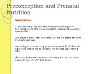 Preconception and Prenatal Nutrition