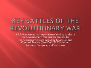 Key Battles of the Revolutionary War