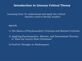 Introduction to Literary Critical Theory