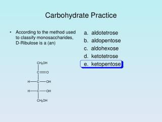 Carbohydrate Practice