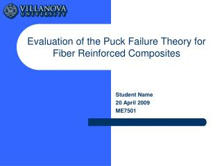 Evaluation of the Puck Failure Theory for Fiber Reinforced Composites