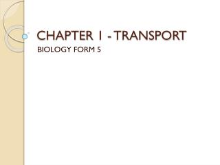 CHAPTER 1 - TRANSPORT