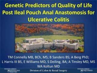 Genetic Predictors of Quality of Life Post Ileal Pouch Anal Anastomosis for Ulcerative Colitis