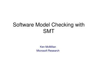 Software Model Checking with SMT