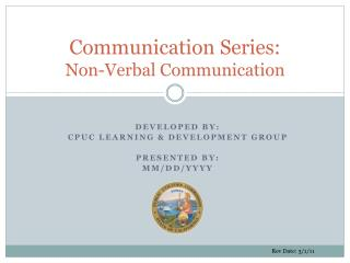 Communication Series: Non-Verbal Communication