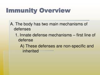 Immunity Overview