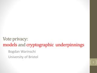Vote privacy:  models  and  cryptographic  underpinnings