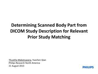 Determining Scanned Body Part from DICOM Study Description for Relevant Prior Study Matching