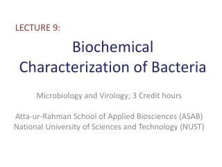 Biochemical Characterization of Bacteria