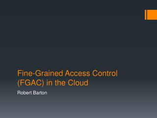 Fine-Grained Access Control (FGAC) in the Cloud