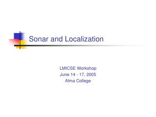 Sonar and Localization