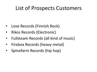 List  of Prospects  Customers