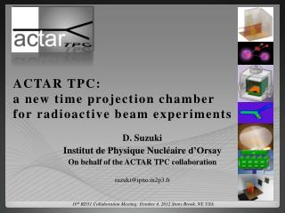 ACTAR TPC: a new time projection chamber for radioactive beam experiments