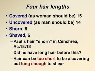 Four hair lengths