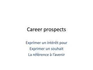 Career  prospects
