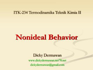 Nonideal Behavior