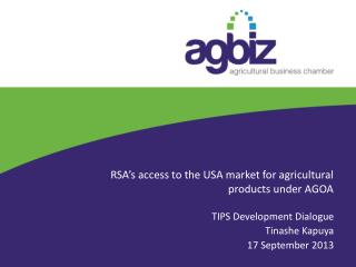 RSA's access to the USA market for agricultural products under AGOA