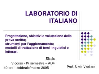 LABORATORIO DI ITALIANO