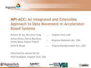 MPI-ACC:  An Integrated and Extensible Approach to Data Movement in Accelerator-Based Systems