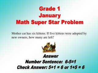 Grade 1 January Math Super Star Problem
