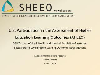U.S. Participation in the Assessment of Higher Education Learning Outcomes (AHELO)