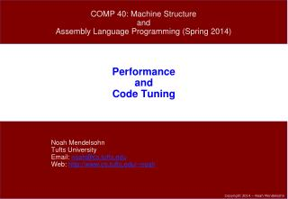 Performance and Code Tuning